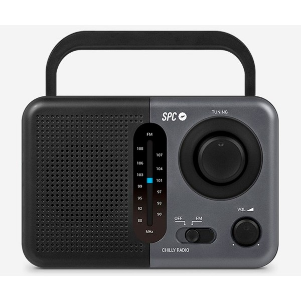 Spc 4574n gris radio chilly am/fm portátil 0.8w a pilas con asa redondeada